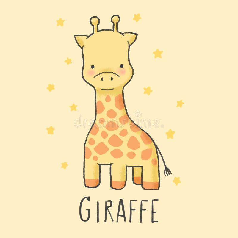 Śliczna ręka rysujący żyrafy kreskówki styl ilustracji