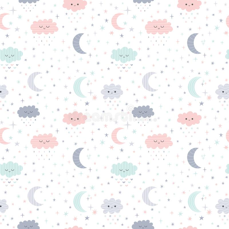 Śliczna ręka rysujący bezszwowy wzór z uśmiechać się chmury i księżyc z gwiazdami Śmieszny pogodowy temat Żartuje tło ilustracji