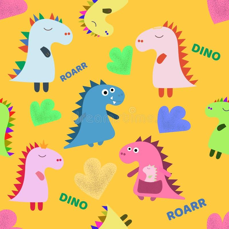 Śliczna ręka rysujący dinosaura koloru wektorowy bezszwowy wzór Dino charakterów kreskówki tekstura Nakreślenie Jurajscy gady Sie ilustracji