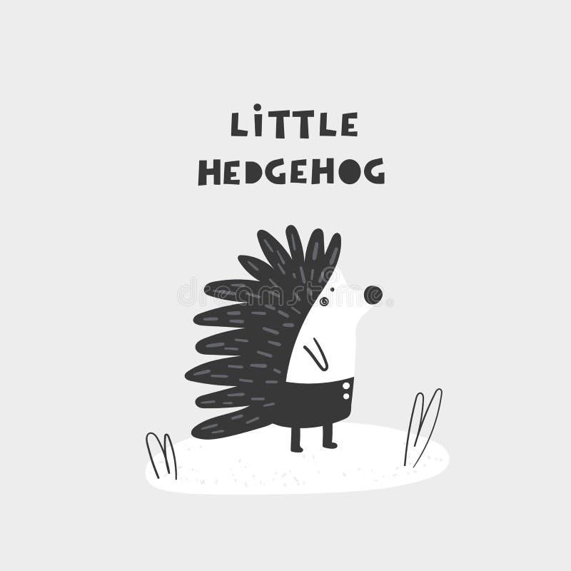 Śliczna ręka rysujący doodle jeż z literowanie wyceną Pocztówka, sztandar, ścienny druk, t koszulowy druk dla dzieciaków ilustracja wektor