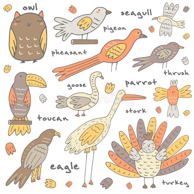Śliczna ręka rysujący doodle ptaki inkasowi ilustracji
