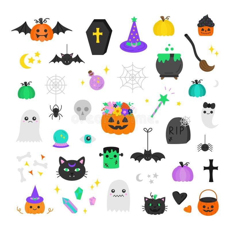 Śliczna ręka rysujący Halloween ilustraci wektorowy set ilustracja wektor