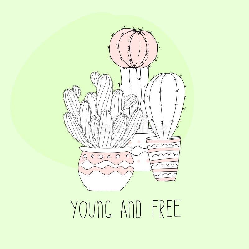 Śliczna ręka rysujący kaktus z listami na koloru tle ilustracji