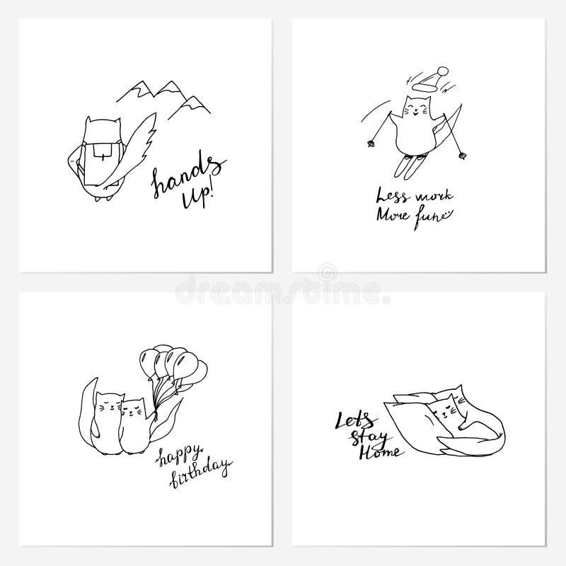 Śliczna ręka rysujący kot karty set ilustracji