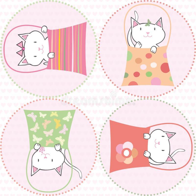 Śliczna ręka rysujący koty w torebkach na różowych przejrzystych okręgach Bezszwowy mulitcolor wektoru wzór na sercu deseniującym royalty ilustracja