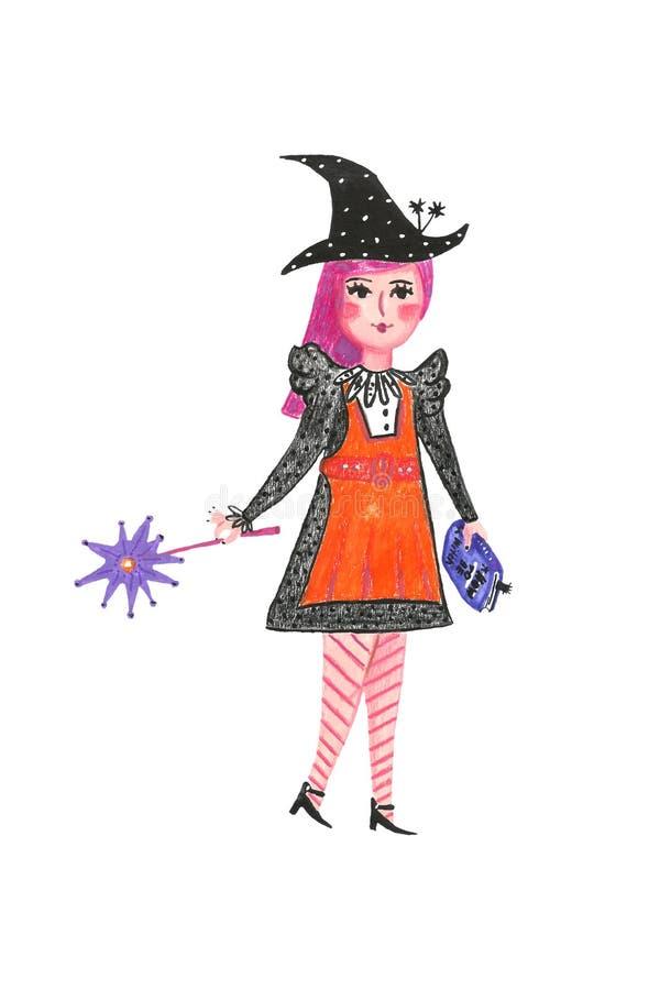 Śliczna ręka rysujący kreskówki małej dziewczynki czarownicy odprowadzenie z książką czary i magiczna różdżka royalty ilustracja