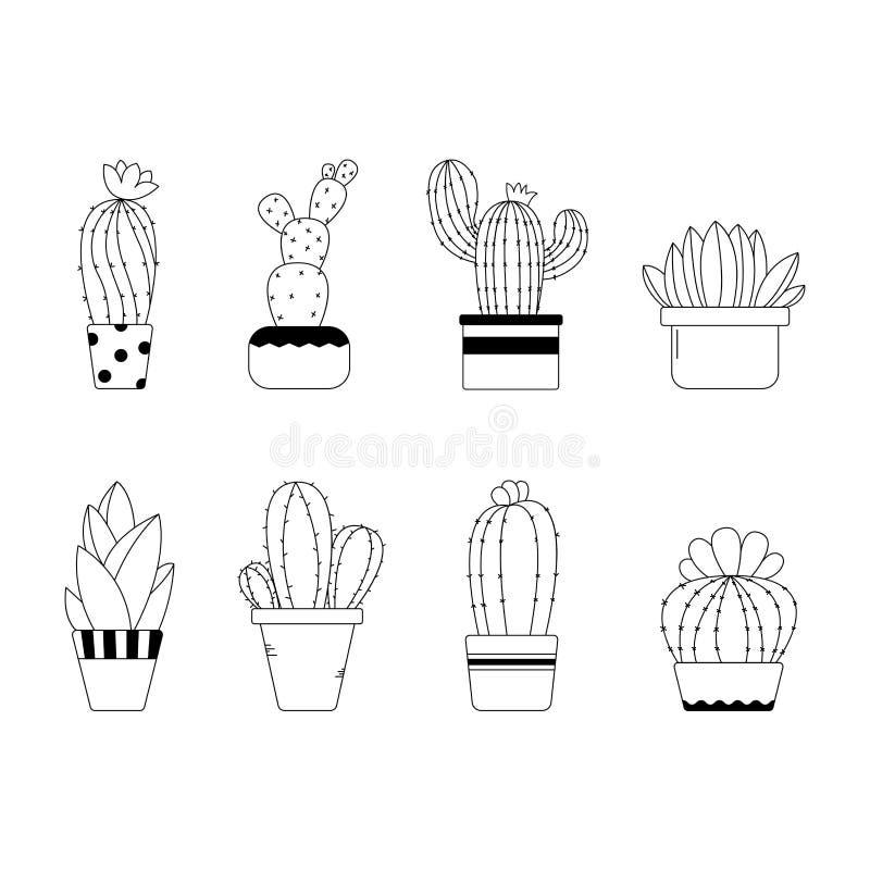 Śliczna ręka rysujący kreskowy kaktus w garnkach zdjęcie stock