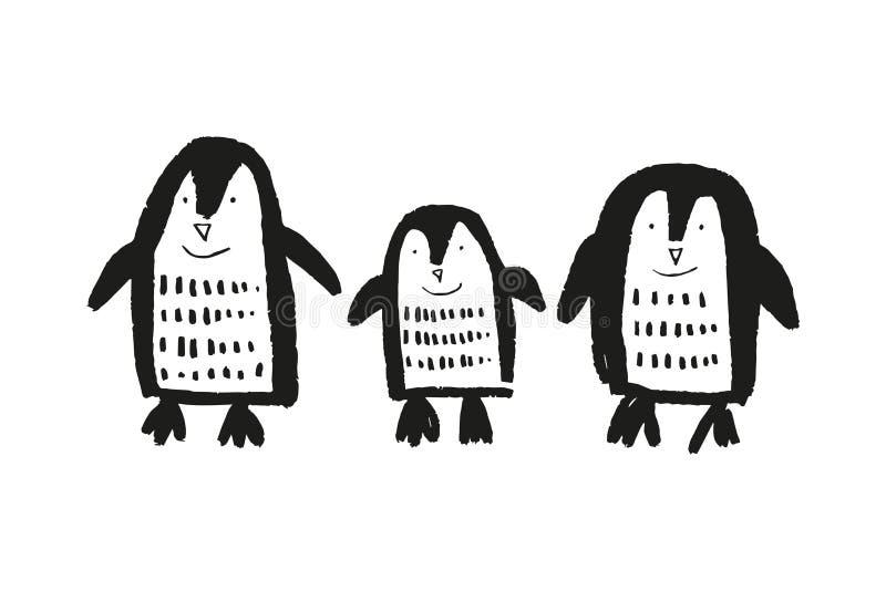 Śliczna ręka rysujący pepiniera mali pingwiny, dziecko zwierzęcy druk royalty ilustracja