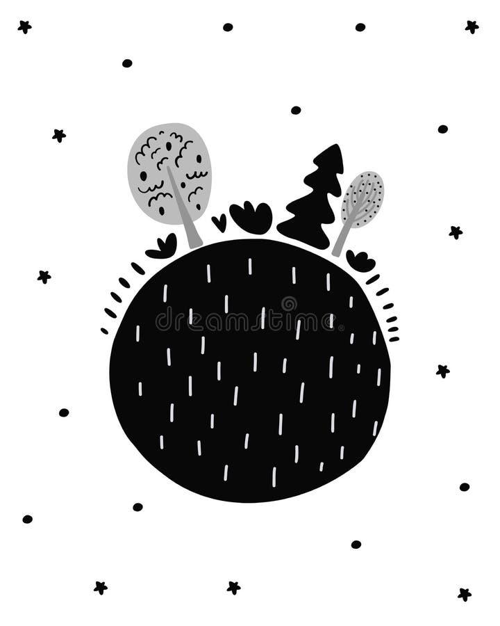 Śliczna ręka rysujący pepiniera plakat z kreskówki shere drzewami i ziemią Skandynawa styl Monochromatyczna czarny i biały ilustr royalty ilustracja