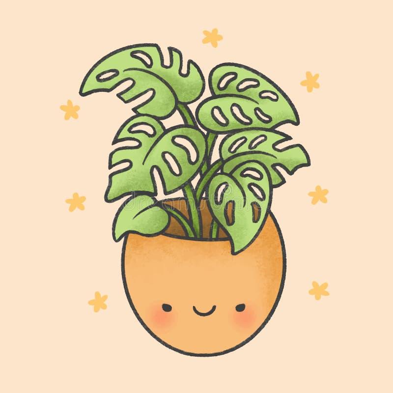 Śliczna ręka rysujący rośliny kreskówki styl ilustracji