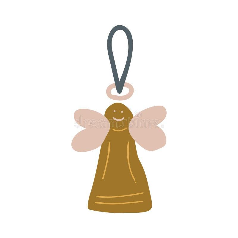 Śliczna ręka rysujący złoty anioł z skrzydło choinki wystrojem royalty ilustracja