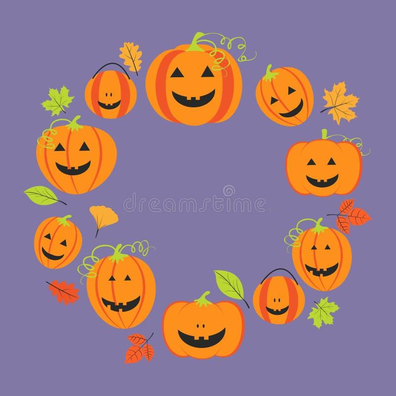 Śliczna rama dla Halloween z baniami i kolorowymi liśćmi ilustracja wektor