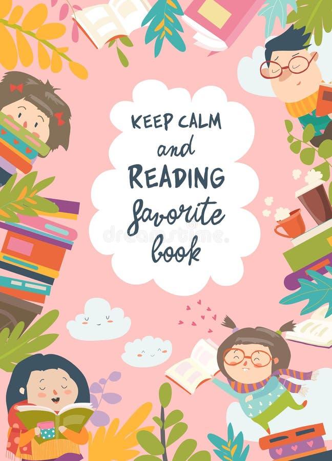 Śliczna rama komponująca dziecko czytelnicze książki ilustracja wektor