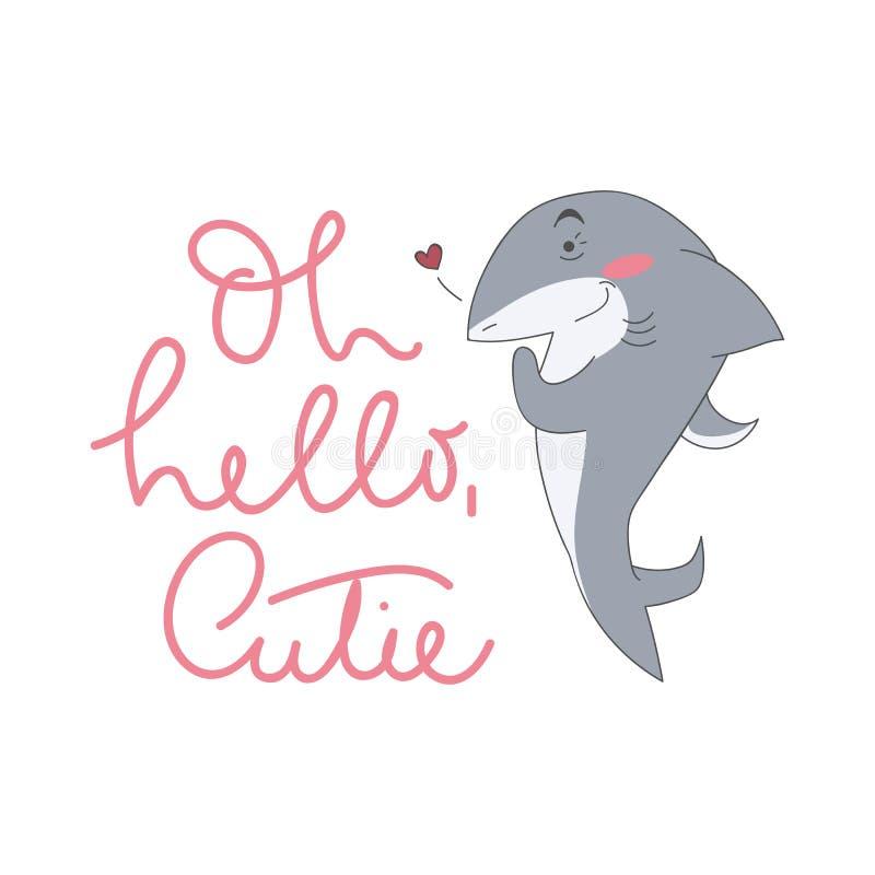 Śliczna rekin ilustracja z literowanie inskrypcją ilustracja wektor