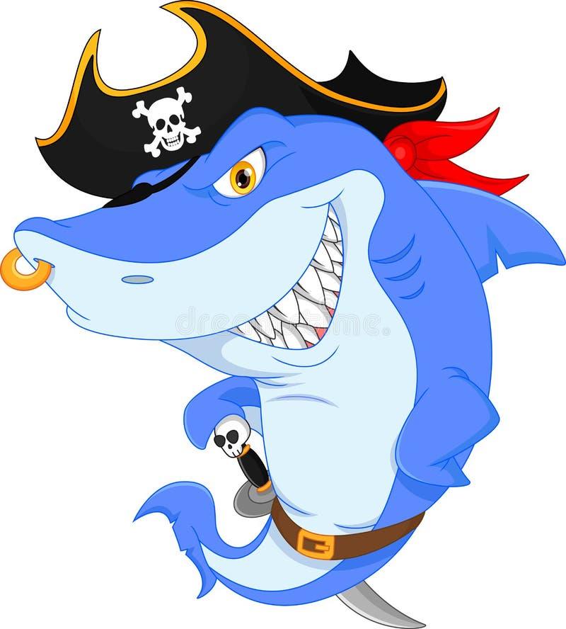 Śliczna rekinu pirata kreskówka ilustracji