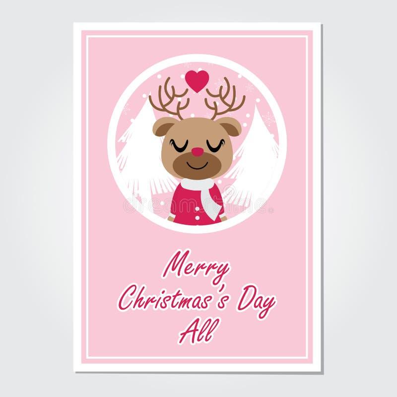 Śliczna reniferowa dziewczyna cieszy się śnieżnego spadek na okrąg ramy kreskówki ilustraci dla kartka bożonarodzeniowa projekta ilustracja wektor