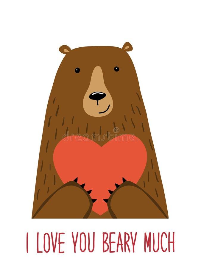 Śliczna retro ręka rysująca walentynki ` s dnia karta jako śmieszny niedźwiedź z sercem i wycena Kocham Ciebie Dużo Beary ilustracja wektor