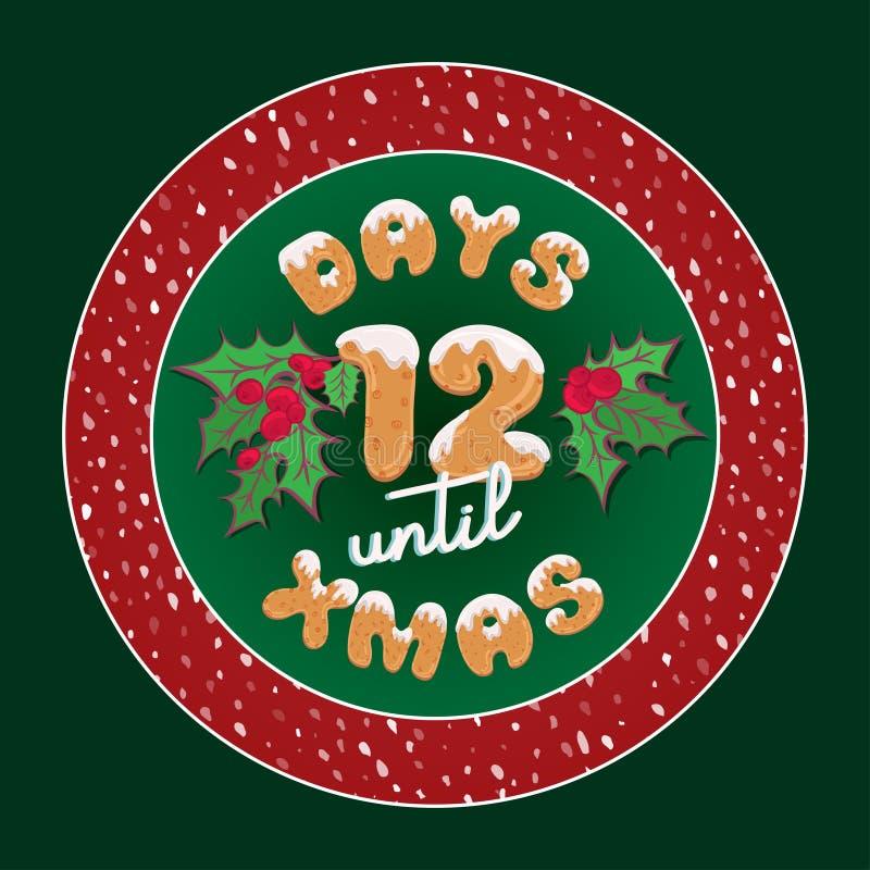 Śliczna retro wakacyjna kartka bożonarodzeniowa Rocznika nastania kalendarza prezenta etykietka dla dekoracja talerza lub plakato ilustracji