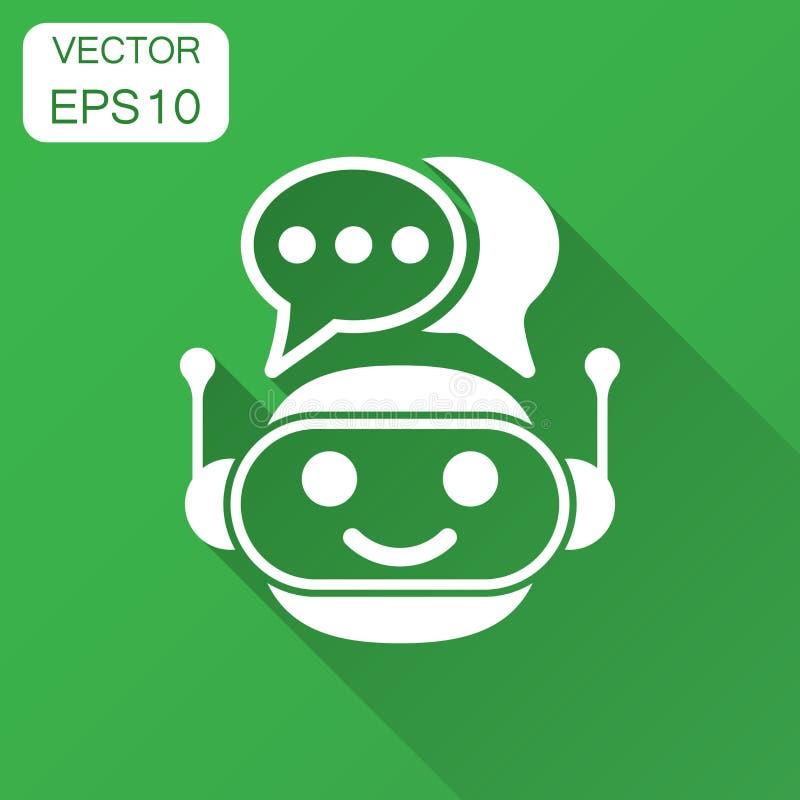 Śliczna robota chatbot ikona w mieszkanie stylu Larwa operatora wektorowa ilustracja z długim cieniem Mądrze chatbot charakteru b royalty ilustracja