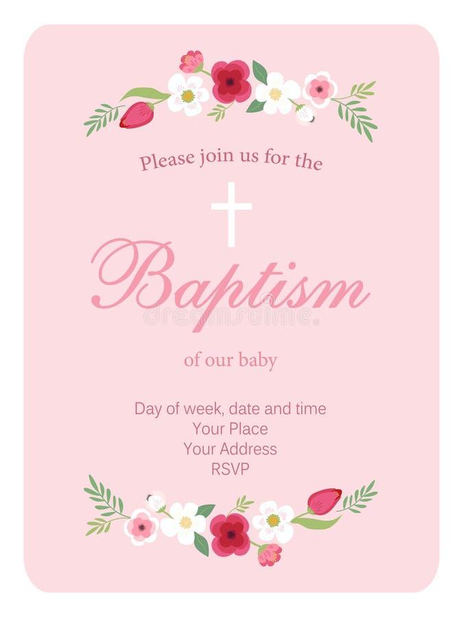 Śliczna rocznika chrzczenia zaproszenia karta z ręką rysującą kwitnie ilustracja wektor