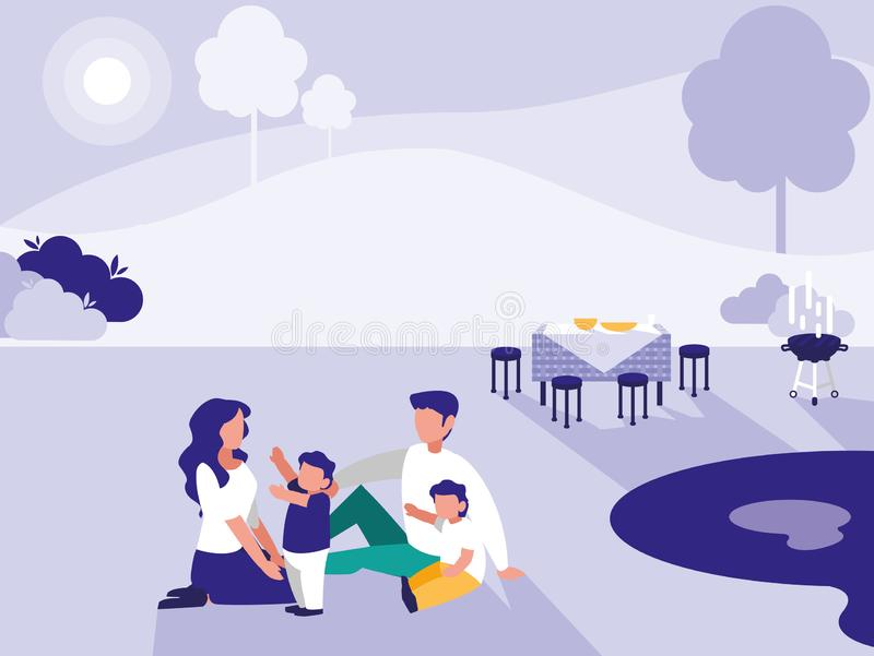 Śliczna rodzina w parku z pinkinem royalty ilustracja