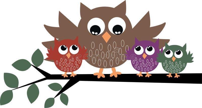 śliczna rodzinna sowa royalty ilustracja