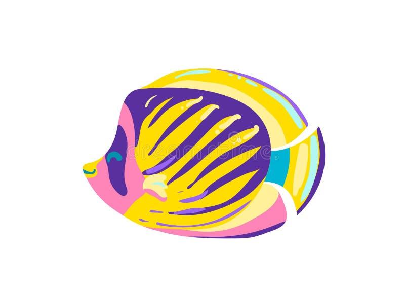 Śliczna rybia królewska kreskówka wektoru ilustracja ilustracji