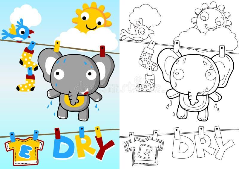 Śliczna słoń kreskówka w clothesline royalty ilustracja