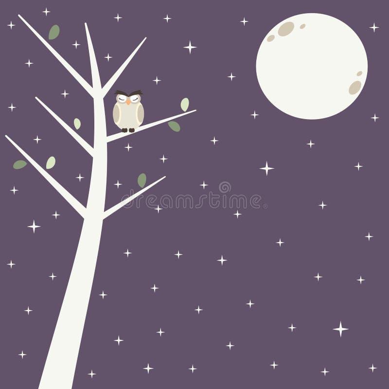 Śliczna sowa na gałąź w gwiaździstej nocy z piękną księżyc tła ilustracją royalty ilustracja