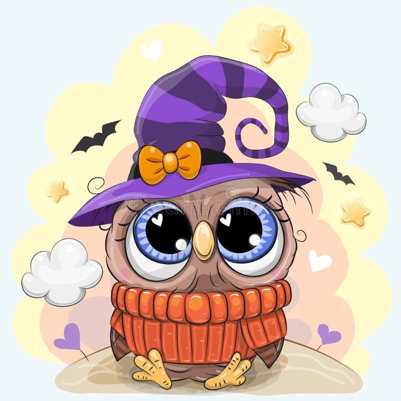 Śliczna sowa w Halloween kapeluszu royalty ilustracja