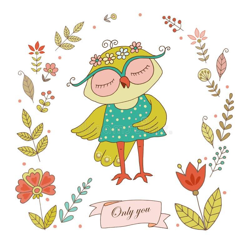 Śliczna sowa z rocznik ramą dla twój projekta w doodle stylu ilustracji