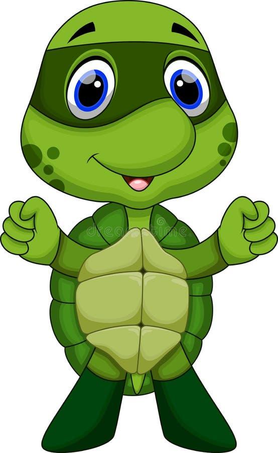 Śliczna super żółw kreskówka ilustracji