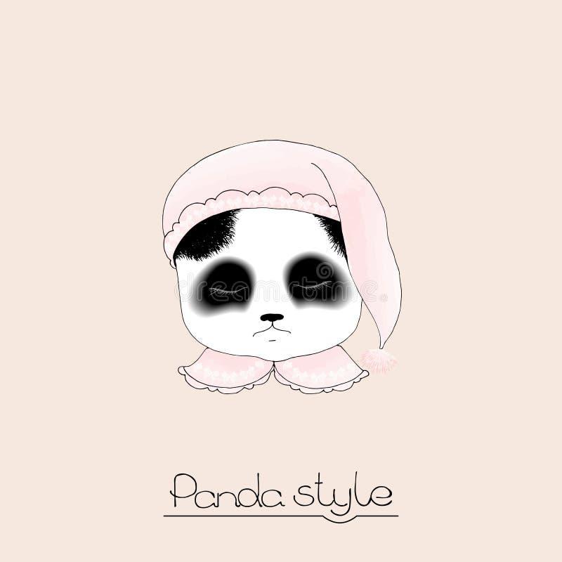 Śliczna sypialna panda royalty ilustracja