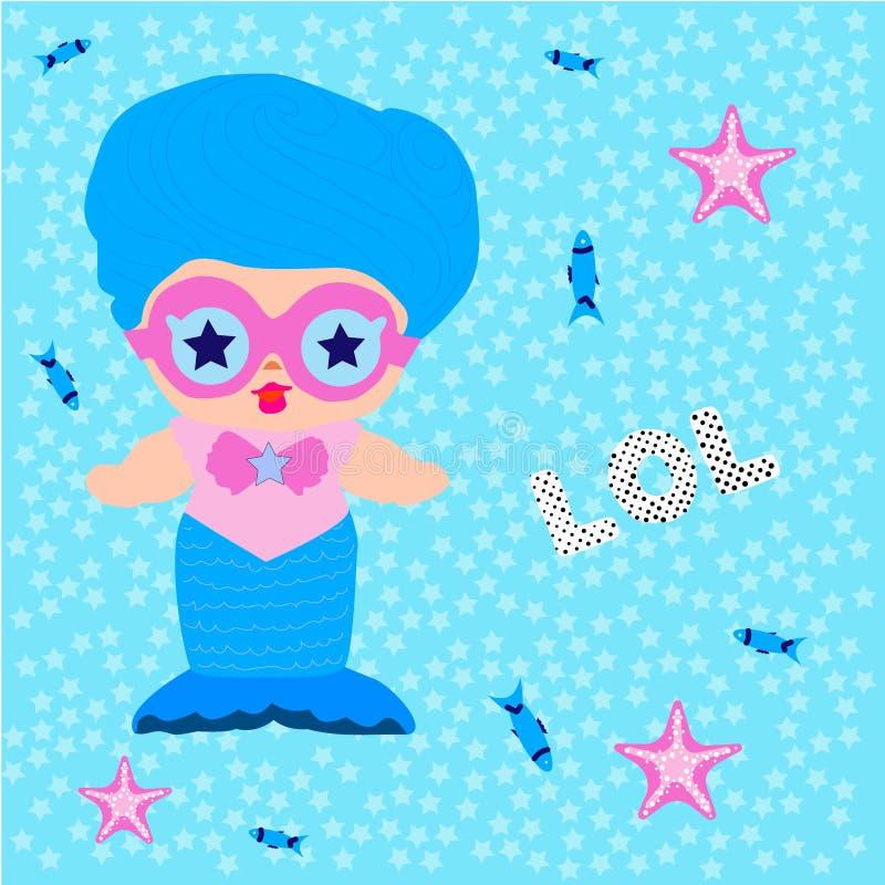 Śliczna syrenki lali dziewczyna z błękitnymi włosianymi i różowymi okularami przeciwsłonecznymi ilustracja wektor