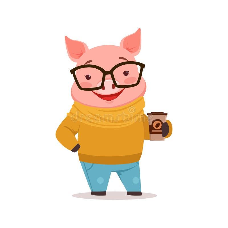 Śliczna szczęśliwa świnia ubierał up w pulowerze i cajgi stoi z filiżanką, śmieszny kreskówki zwierzę ubierający w istocie ludzki ilustracji