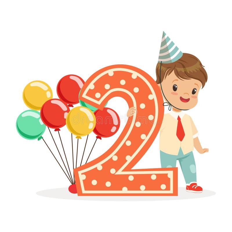 Śliczna szczęśliwa chłopiec świętuje jego drugi urodziny, kolorowa postać z kreskówki wektoru ilustracja ilustracji
