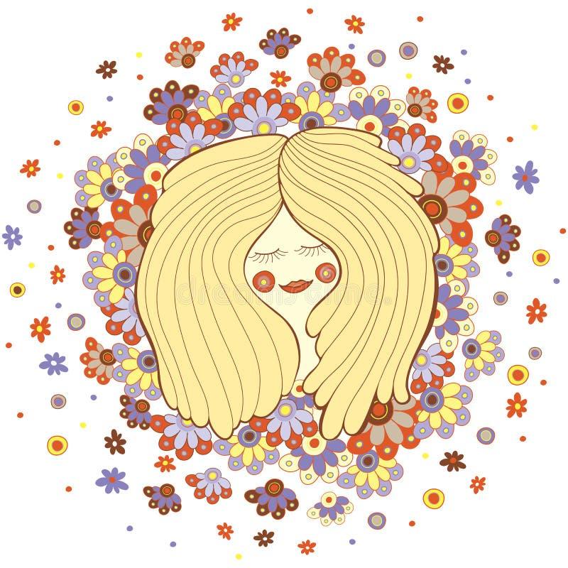 Śliczna szczęśliwa dziewczyna z kwiat ilustracją, wektor ilustracji