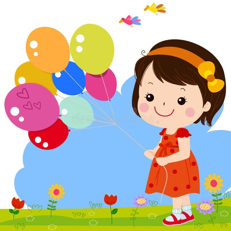 Śliczna szczęśliwa dziewczynka z ballon ilustracja wektor