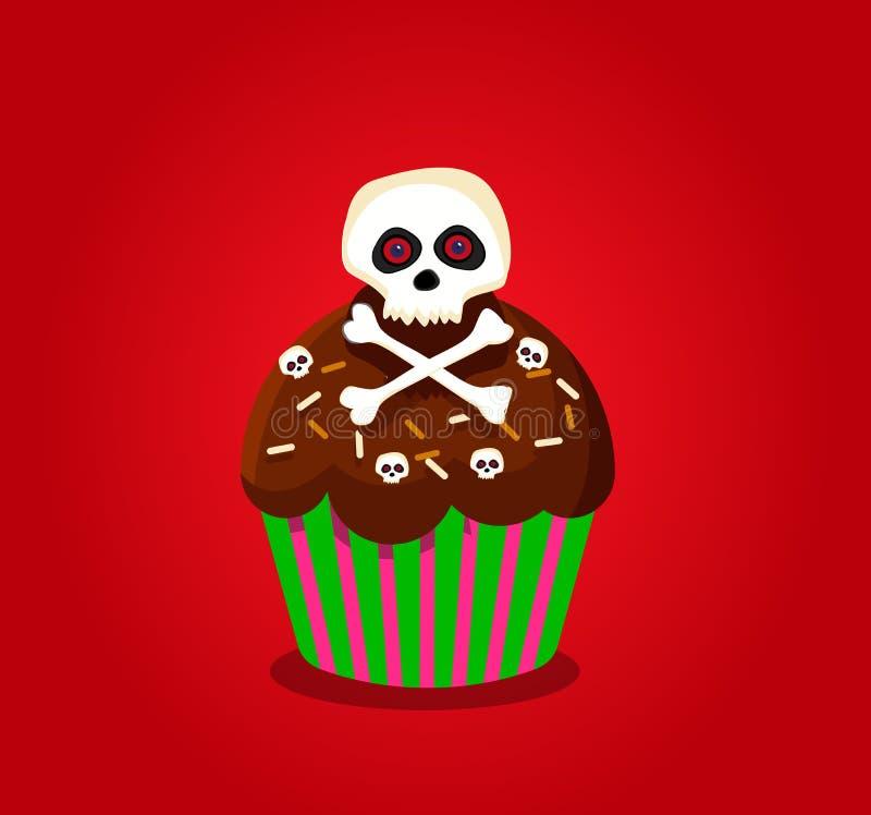 Śliczna szczęśliwa Halloween babeczka z czaszki i krzyża kościami odizolowywać royalty ilustracja