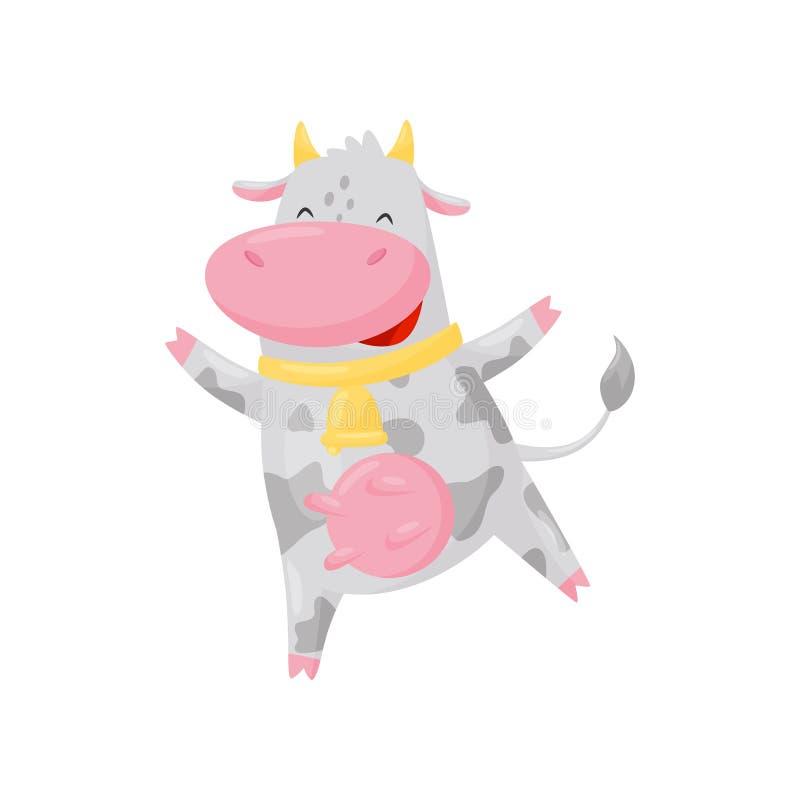Śliczna szczęśliwa krowa z złotym dzwonem ma zabawę, śmiesznej zwierzęta gospodarskie postaci z kreskówki wektorowa ilustracja na ilustracja wektor