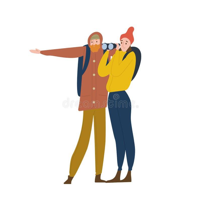 Śliczna szczęśliwa młodego człowieka, kobiety pozycja i Chłopak i dziewczyna podróżujemy wpólnie w dzikim ilustracji