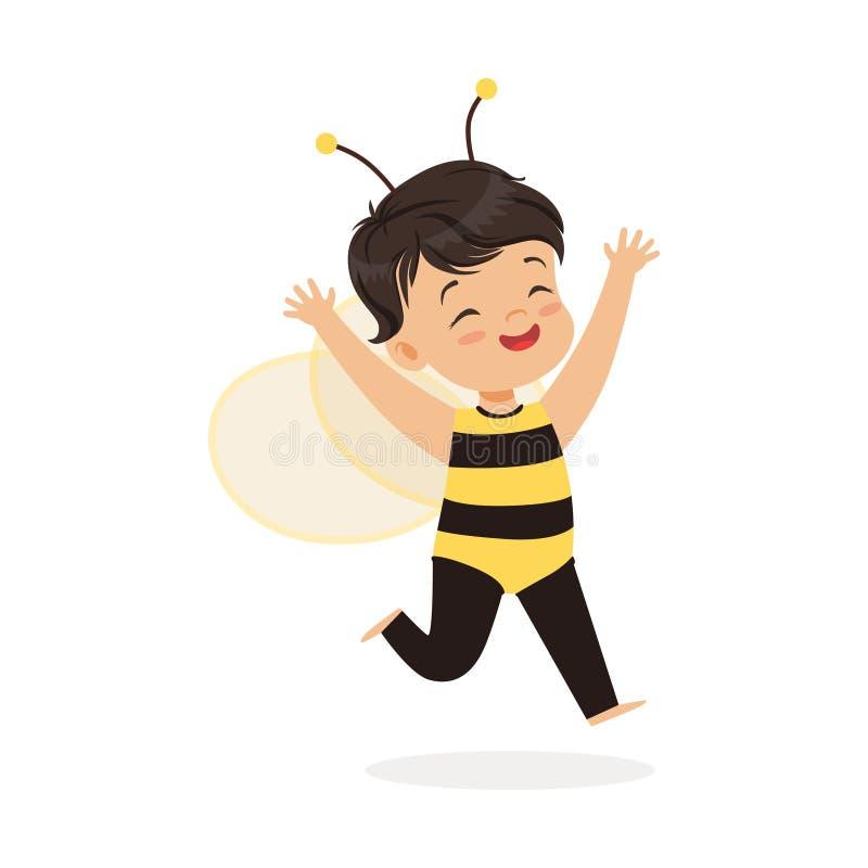 Śliczna szczęśliwa mała dziewczynka ubierająca jako pszczoła, dzieciak karnawałowa kostiumowa wektorowa ilustracja ilustracji