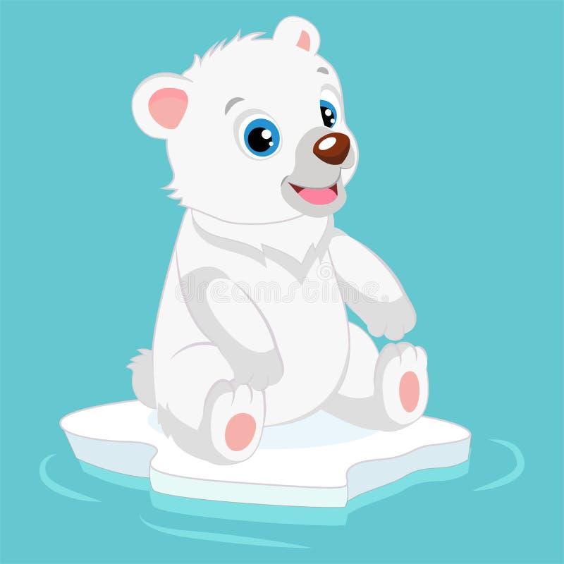 Śliczna Szczęśliwa Mała niedźwiedzia polarnego wektoru ilustracja Uśmiechnięty Biegunowy miś ilustracja wektor