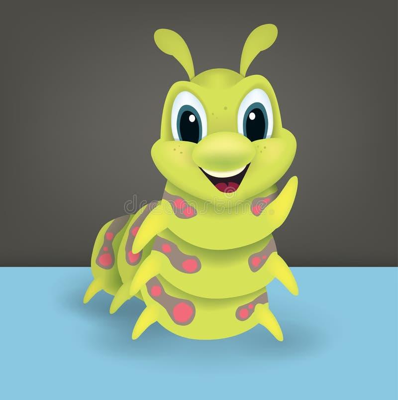Śliczna szczęśliwa zielona kreskówki gąsienica ilustracji