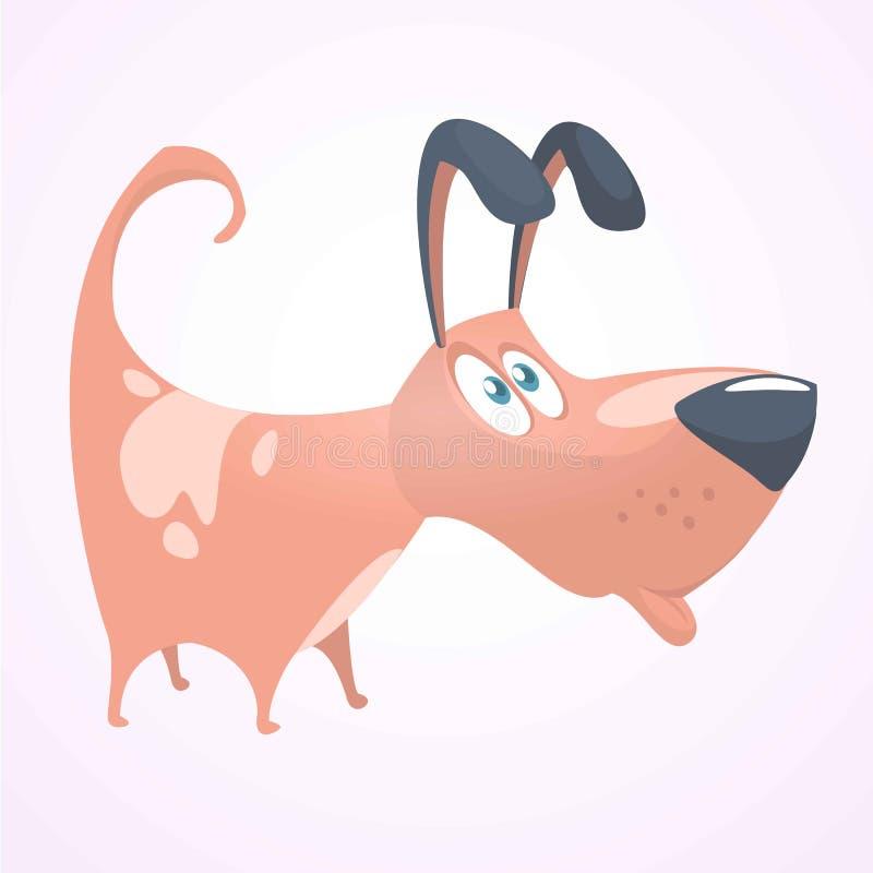 Śliczna szczeniak kreskówki wektoru ilustracja Śmieszna brązu psa ikona Projekt dla druku lub majcheru ilustracji