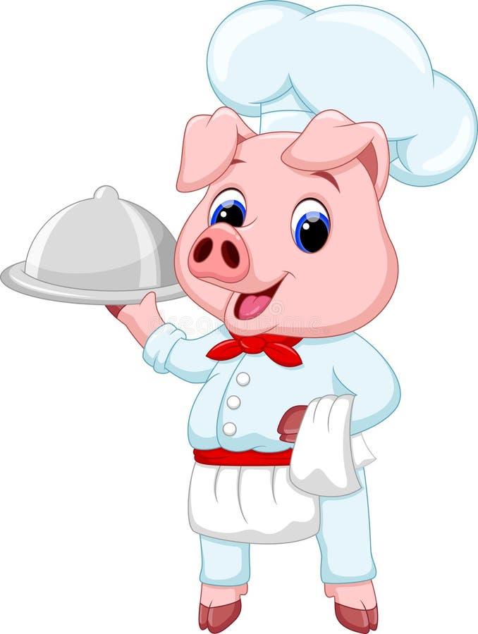Śliczna szef kuchni świni kreskówka ilustracja wektor