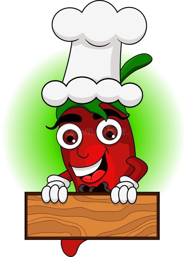 Śliczna szef kuchni chili kreskówka royalty ilustracja
