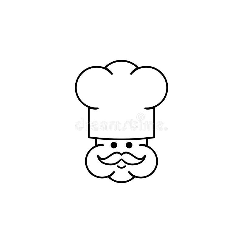 Śliczna szefa kuchni konturu ikona ilustracji