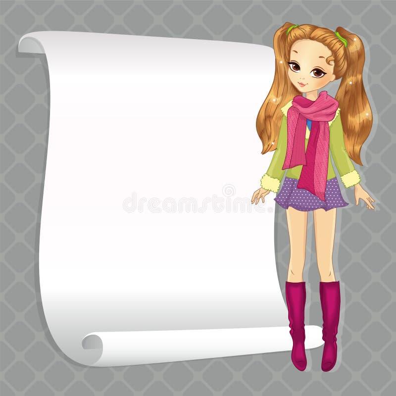 Śliczna Szkolna dziewczyna Z sztandarem ilustracji