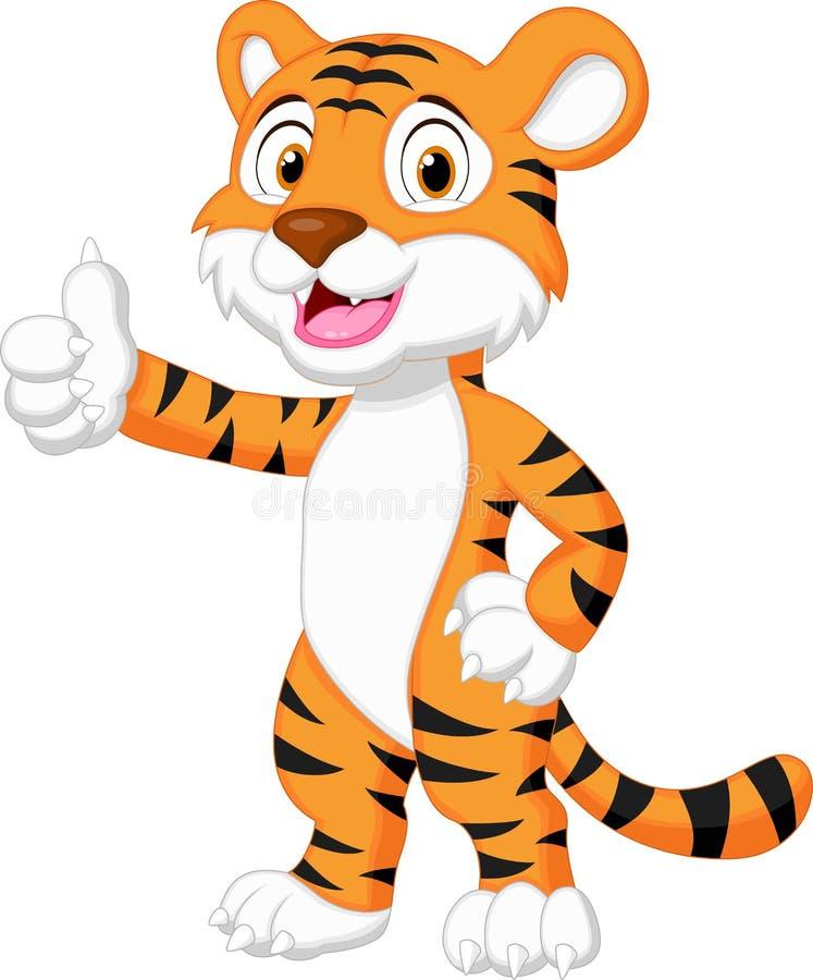 Śliczna tygrysia kreskówka daje kciukowi up ilustracji
